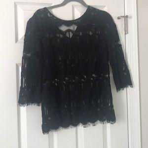 Black 3/4 Sleeve Lace Blouse